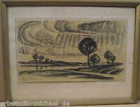 """Norddeutsche Künstler: Henry Garde,Kreidezeichnung """"Weite Landschaft mit Bäumen"""""""