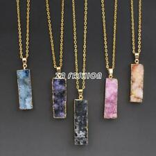 Natural Druzy Quartz Agate Amethyst Geode Gemstone Pendant Gold Necklace Gift