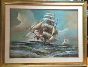 Veliero quadro a olio Herman Conrad