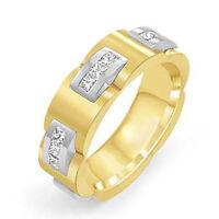 1.00 Ct Men's Princess Eternity Band Wedding Ring 14k Multi-Tone Gold G VS2 10mm