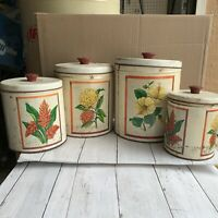 Vintage metal kitchen canisters, set of 4 Hibiscus and Flowers Maid of Honor