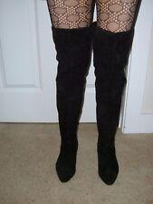 Vtg Garda thigh high hi boots black suede made in Italy sz 9 41 1 1/2 inch heel