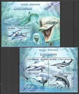ST1741 2013 S. TOME & PRINCIPE DOLPHINS FAUNA MARINE LIFE KB+BL MNH STAMPS