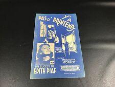 VINTAGE ANCIENNE PARTITION Y'A PAS D' PRINTEMPS EDITH PIAF 1944