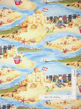 Beach Theme Fabric - Ocean Sand Sea Shell Beach Seaside Rendezvous Scenic - Yard