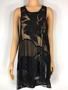 WOMEN'S FA MODA ITALIA MESH BEACH COVER UP DRESS SIZE MEDIUM BLACK BNWOT