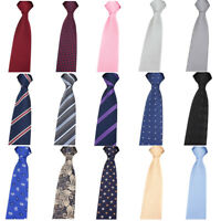 Men Floral Striped Polka Dots 6cm Zipper Necktie Party Wedding Pre-tied Tie
