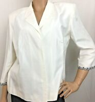 Studio I Womens Silk Blazer Open Front Jacket Ivory 3/4 Sleeve Career Size L