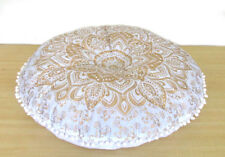"""28"""" White Golden Round Pillow Cover Mandala Room Floor Cushion Pouf Covers Throw"""