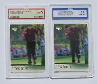 2 Tiger Woods 2001 Upper Deck #1 Rookie Cards: PSA MINT 9.0 and AGA GEM MNT 10