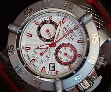 Invicta Mens RED Subaqua 50mm Silver Dial Swiss Made Z60 Chronograph Watch RARE!