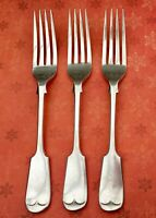 WS & Co FIDDLE FORKS x3 EPNS SILVER PLATE ANTIQUE VICTORIAN CUTLERY 19.5cm