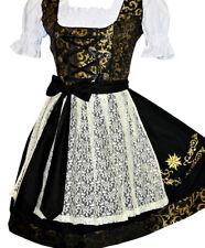 Sz 16 L Black German Dirndl Oktoberfest Dress Waitress Short Party EMBROIDERED
