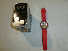 Boxed Collectors Tin Disney Mickey Mouse Official Accutime Red Silicon Watch >>