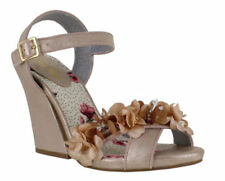 Wedge Peep Toes Textile Floral Heels for Women