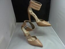 NEW SAM EDELMAN CLAIRE Women 3 Buckle Ankle Strap High Heel Pumps Beige sz 8 m
