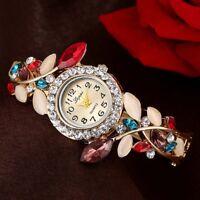 Women Quartz Wrist Watch Colored Flower Petal Bracelet Strap Decorative  Watch