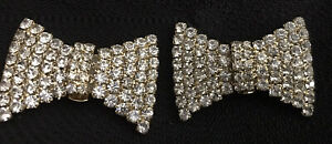 """Bluette Bow Rhinestone Shoe Clips Made In France 1.5"""" X 1"""""""