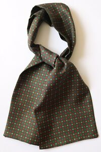 """Green, blue and red hand printed silk cravat 39"""" X 6"""""""