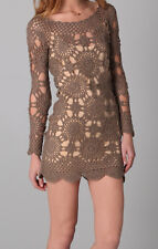 ETERNAL SUNSHINE CREATIONS BROWN CROCHET DRESS XS S