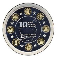 San Marino - 10 Jahre EURO - Silber und Gold veredelt - ERSTABSCHLAG (9114/155N)