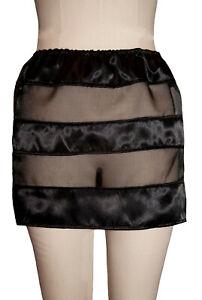 Satin Organza Shutter Skirt Black - Clubwear Erotic Sexy Sheer See through