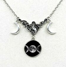 Witches Gorgeous Triple Moon  Pendant/Necklace. Witchcraft/Wicca/Pagan/Spells