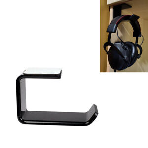 Headphone Stand Hanger Hook Tape Under Desk Dual Headset Mount Holder Tool Black