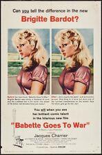 BABETTE S'EN VA T'EN GUERRE GOES TO WAR one sheet poster 27x41 BRIGITTE BARDOT