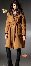 BOHO COAT WOMEN WINTER LONG CAMEL BEIGE WATERFALL BELTED WRAP UK 14 16