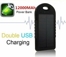 12000mAh Solar Power Bank Dual USB LED External Battery Charger For Mobile Phone