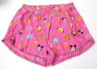 Disney Girls' tsum tsum Print Elastic Waist Shorts Pink Size L XL