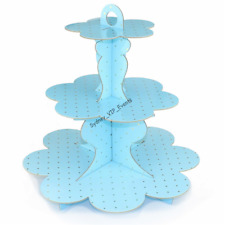 3 TIER BLUE GOLD POLKADOT CAKE STAND TREE BABY SHOWER PARTY SWEET HOLDER CUPCAKE