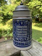 German 1-litre beer stein Munich child cobalt blue stoneware 1900s w/verse