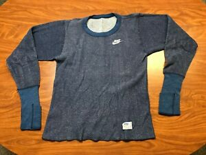 MENS VINTAGE 70'S NIKE BLUE LONG SLEEVE ATHLETIC THERMAL SHIRT SIZE XS SMALL