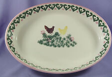 SECLA Portuguese Pottery Oval Serving Dish Green Pink Chickens Portugal Vintage