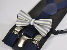 BABY BOY KIDS ELEMENTS STRIPE GREY Bowtie Bow Tie + Navy Blue Elastic Suspenders