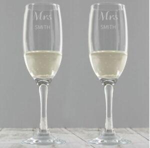 Personalised Wedding Pair Of Champagne Glasses Flutes Set Mr Mrs Bride Groom