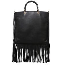 $2895~Gucci Black Leather Bamboo Fringe  Bag Crossbody Messenger Tassel 349195
