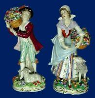 Sitzendorf Porcelain Antique Vintage Original Germany Figurine Flower Sellers 2X