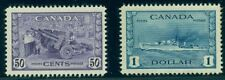 CANADA #261-2 50¢ & $1.00 War Efford, high values of set, og, LH, VF, Scott $95.