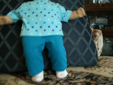 Handmade Bitty Baby Girl Doll  tutquoise pants/heart printed tee/socks 348