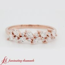 1/2 Carat Marquise Cut And Round Diamond Nature Inspired Rose Gold Wedding Band