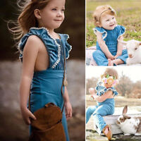 Toddler Baby Kids Girls Ruffle Denim Romper Bodysuit Jumpsuit Outfits Clothes g