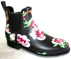 NEW JUSTFAB ROUELA BLACK & PINK FLORAL RAIN BOOTIE ANKLE BOOTS 9 M