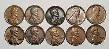 Lincoln Wheat Cent Penny - Lot of 10 Coins - Mixed Dates: 1944 - 1958 (lot# 28)