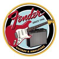 Fender Round Since 1946 Guitars & Amplifiers Vintage Retro Decor Metal Tin Sign