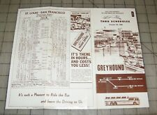 1960 Greyhound Bus Thru Schedules Fold-Out Brochure - Midwest to San Francisco