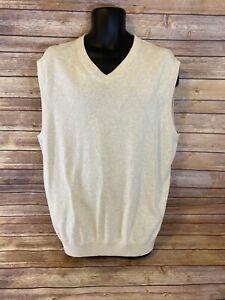 Mens Roundtree & Yorke Sweater Vest Size XL Mens Cream New NWT Pullover V-neck
