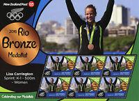 New Zealand 2016 MNH Rio Bronze Lisa Carrington Kayaking 6v M/S Olympics Stamps